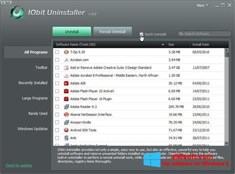 Zrzut ekranu IObit Uninstaller na Windows 8