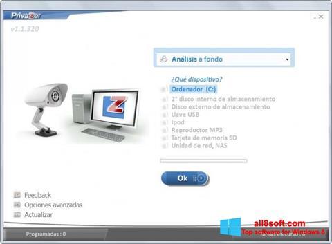 Zrzut ekranu PrivaZer na Windows 8
