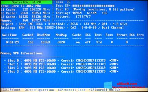 Zrzut ekranu MemTest na Windows 8