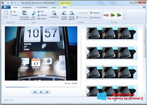 Zrzut ekranu Windows Live Movie Maker na Windows 8
