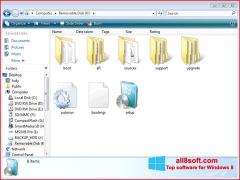 Zrzut ekranu Windows 7 USB DVD Download Tool na Windows 8