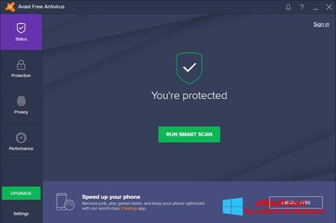 Zrzut ekranu Avast Free Antivirus na Windows 8