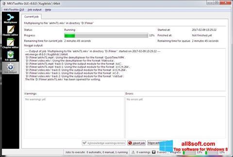 Zrzut ekranu MKVToolnix na Windows 8
