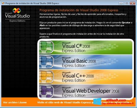 Zrzut ekranu Microsoft Visual Studio na Windows 8