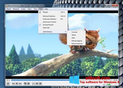 Zrzut ekranu VLC Media Player na Windows 8