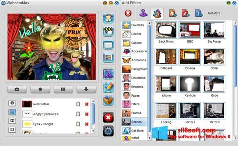Zrzut ekranu WebcamMax na Windows 8
